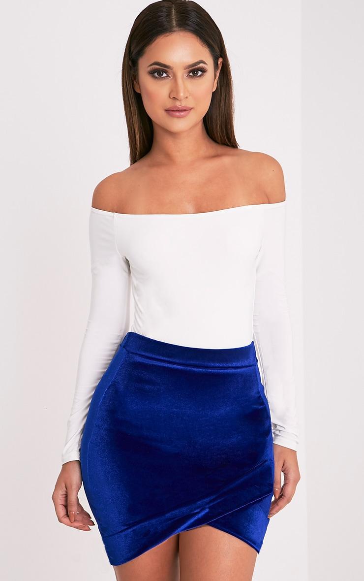 Gabriella Blue Velvet Asymmetric Mini Skirt 1