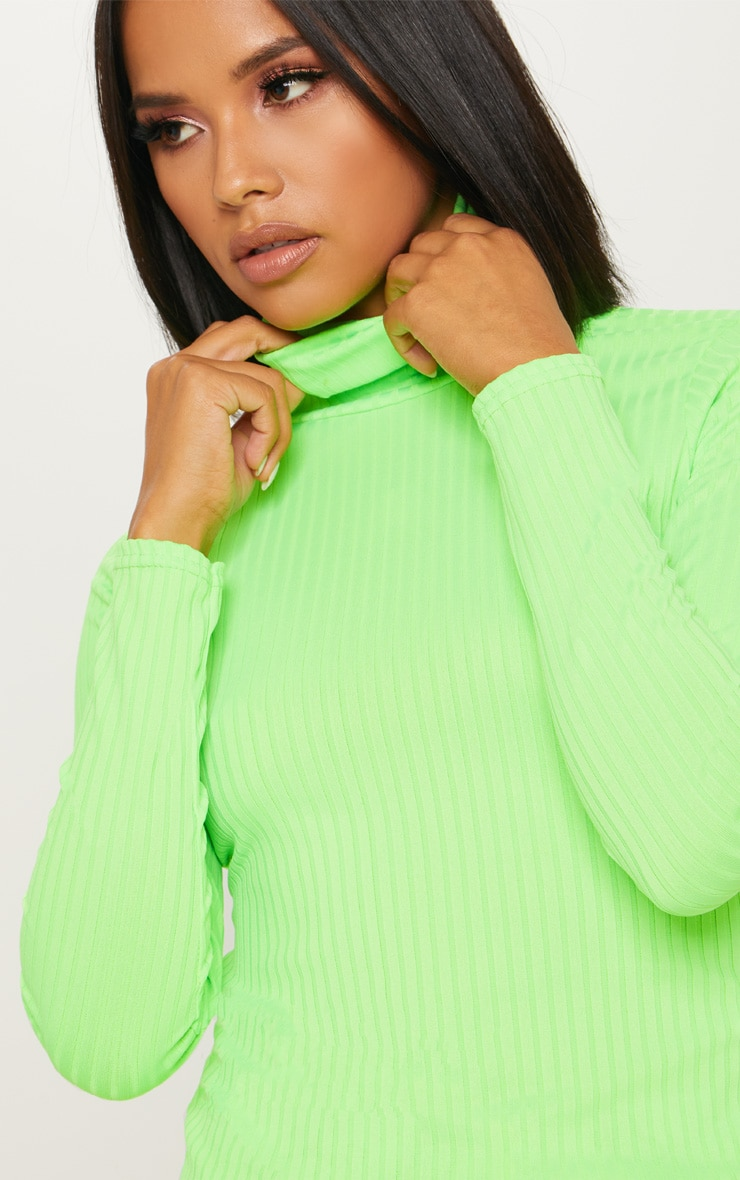 Neon Lime Rib Roll Neck Long Sleeve Top 6