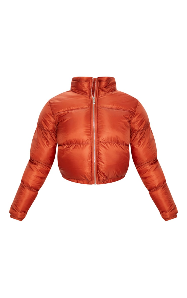 Rust Cropped Bubble Puffer Jacket 3
