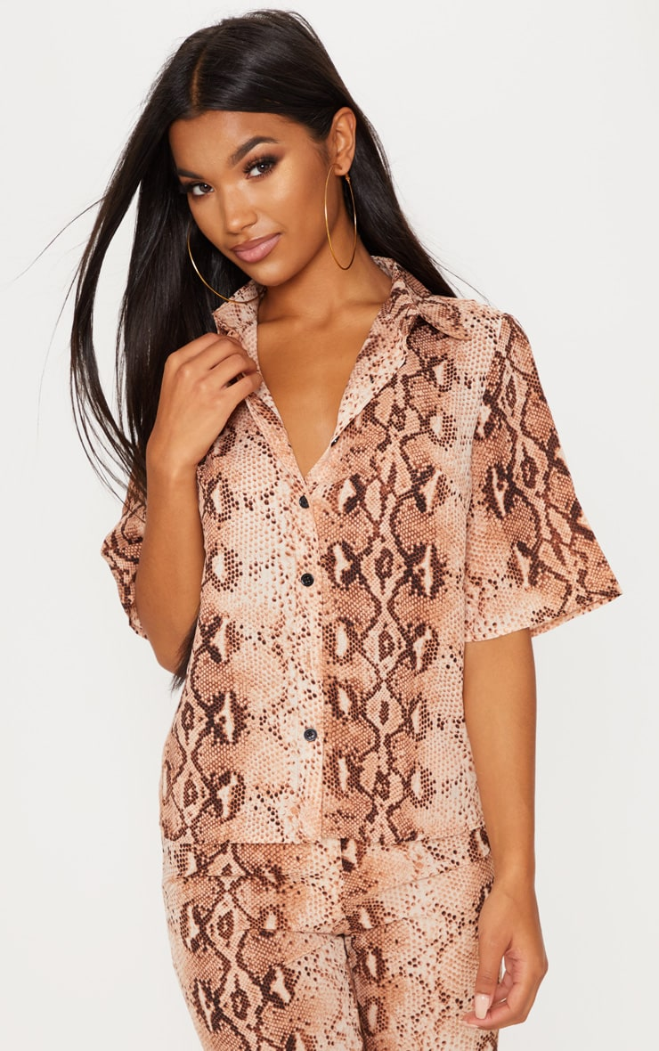 Brown Chiffon Snake Print Button Front Short Sleeve Shirt