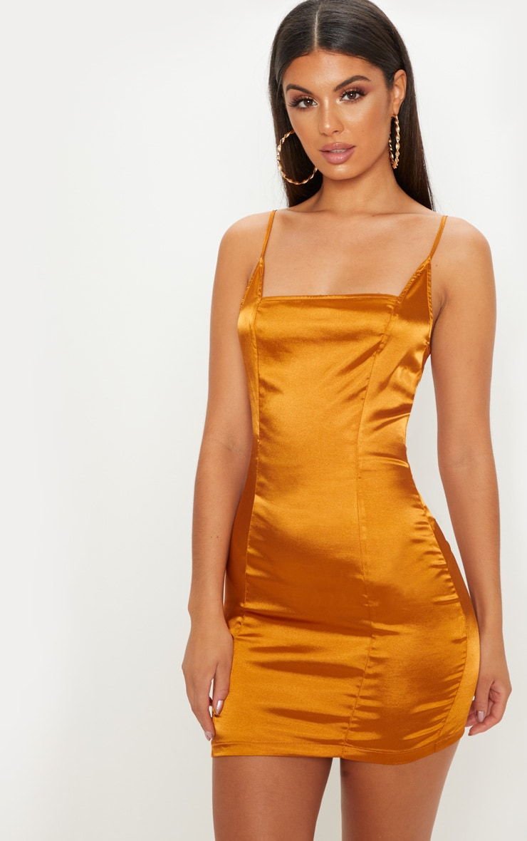 GOLD SATIN STRAPPY SQUARE NECK BODYCON DRESS