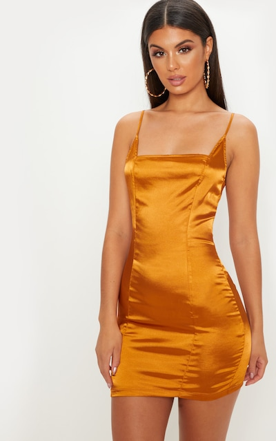Gold Satin Strappy Square Neck Bodycon Dress da07ac8de