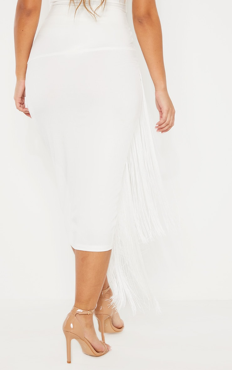 White Fringe Detail Tiered Midaxi Skirt 4