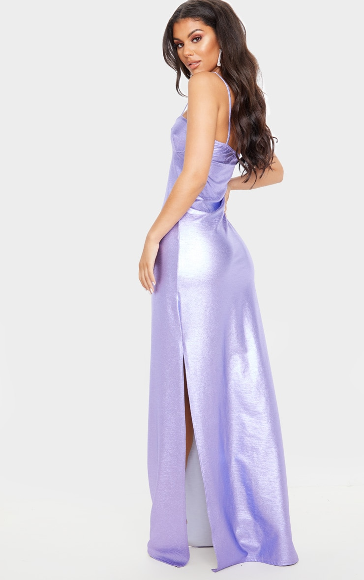 Lilac Metallic Strappy Maxi Dress 2