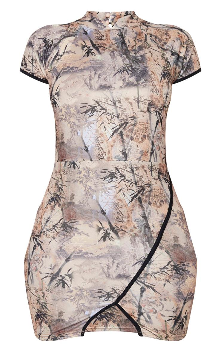 Stone Oriental Print High Neck Binding Oriental Bodycon Dress 5
