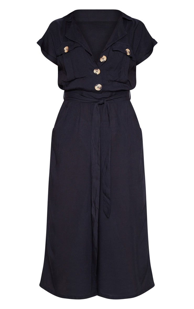 Black Tortoise Shell Button Pocket Detail Culotte Jumpsuit 3