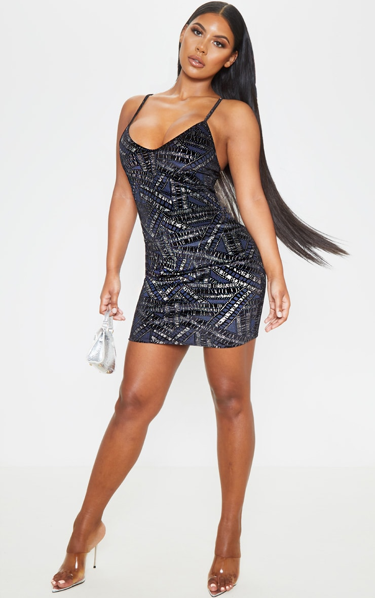 Black Metallic Printed Velvet Strappy Bodycon Dress 1