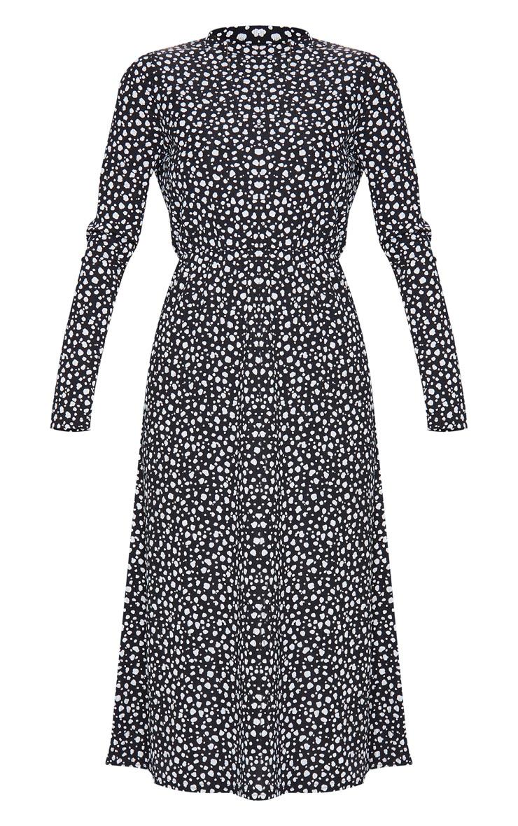 Robe mi-longue côtelée à imprimé dalmatien noir et manches longues 5