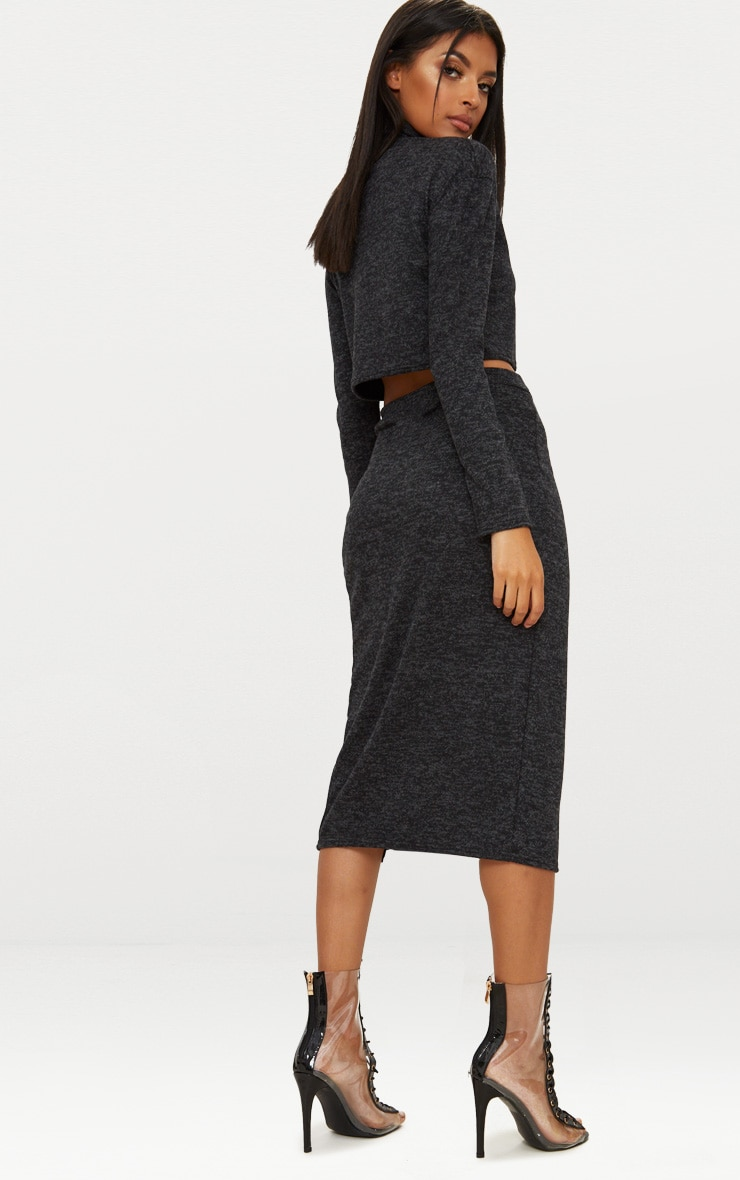 Charcoal Roll Neck Co ord Skirt Set 1