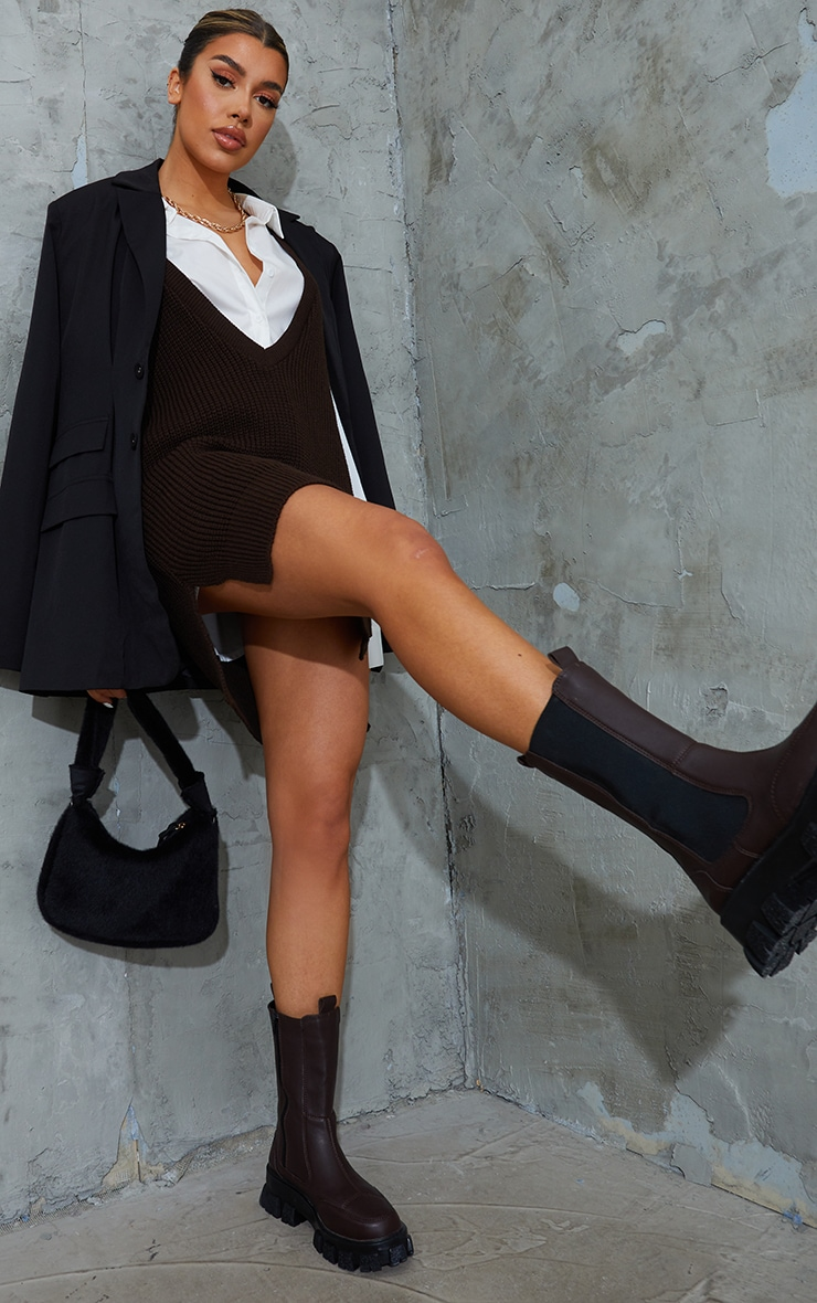 Chocolate Longline Deep V Knitted Sleeveless Dress 3