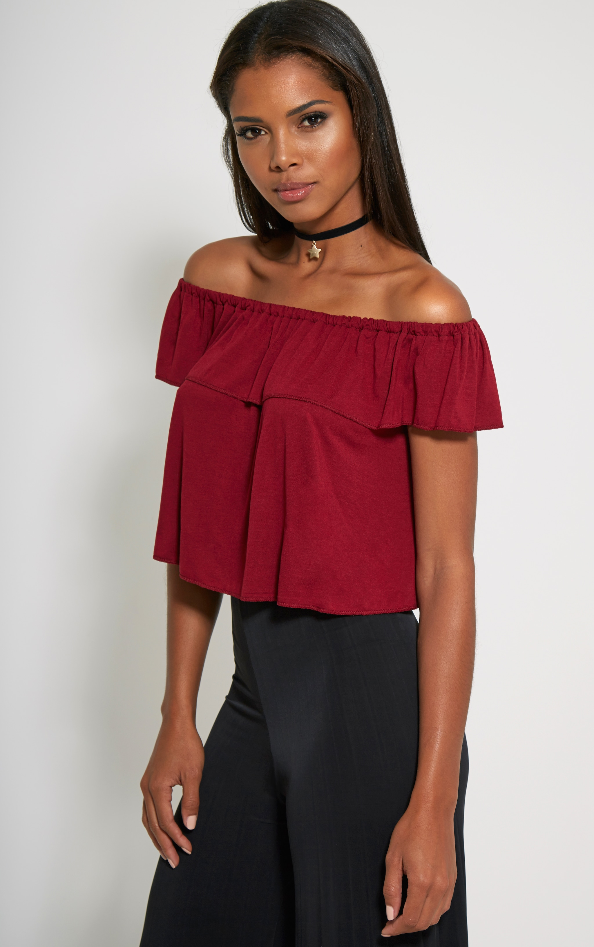 Alice Burgundy Bardot Frill Jersey Crop Top 1