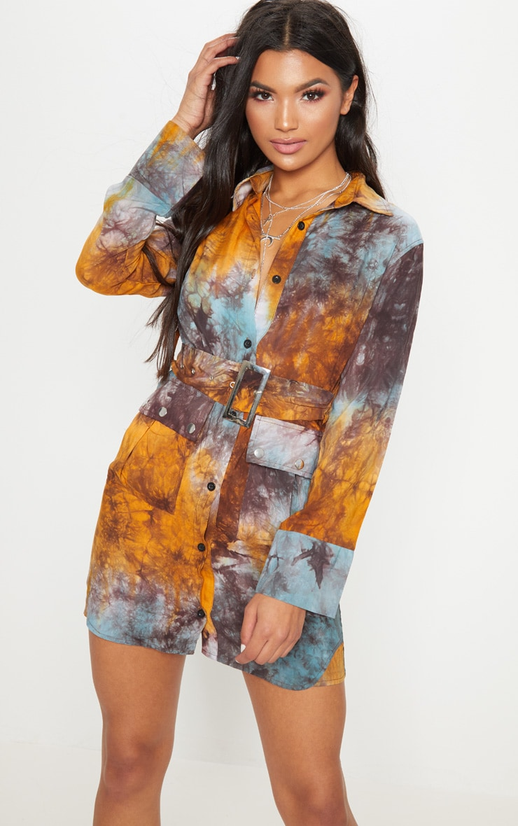 Multi Acid Wash Shirt Dress 1