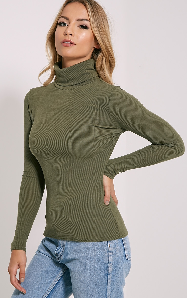 Khaki Roll Neck Top 3