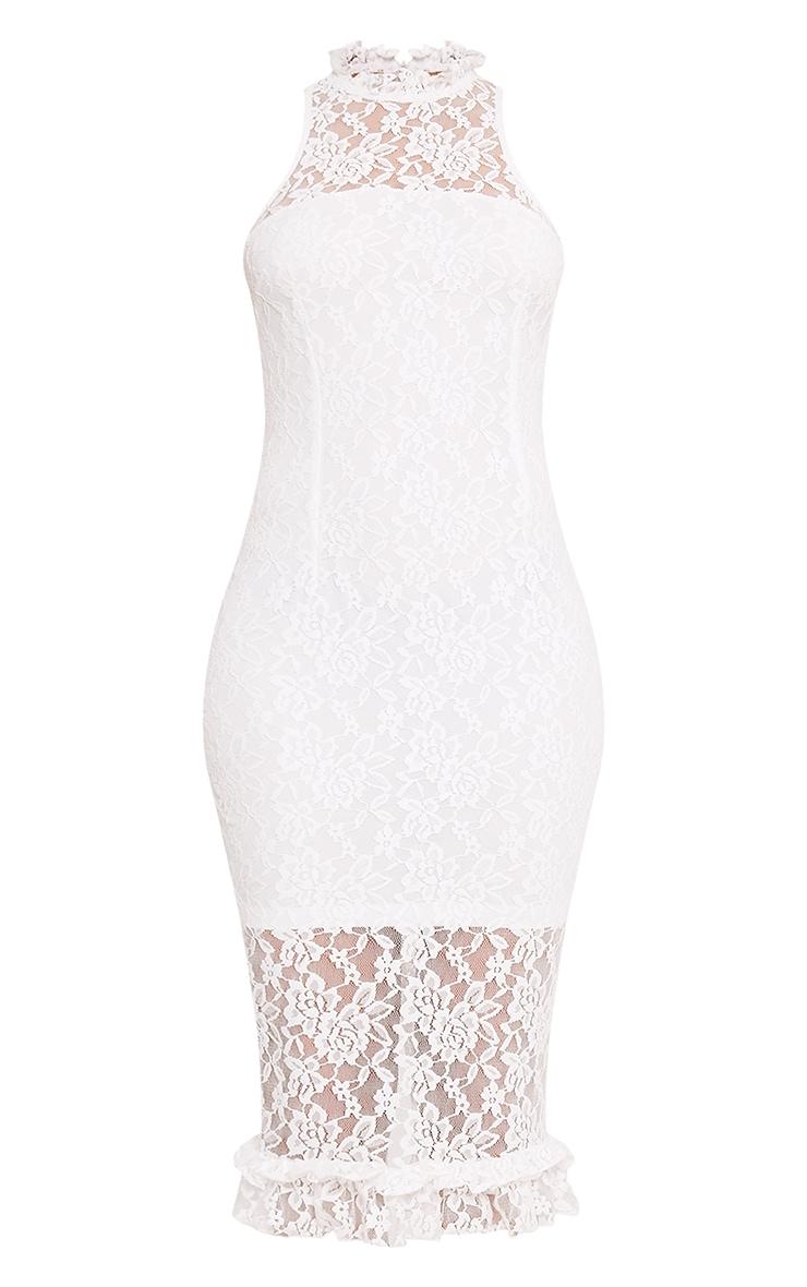 Helen White Lace Frill Neck Midi Dress 3