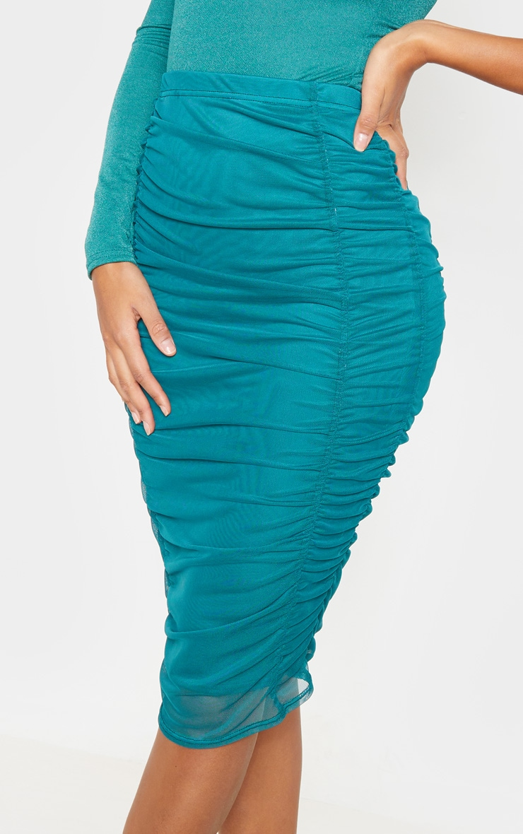 Emerald Green Second Skin Ruched Mesh Midi Skirt 6