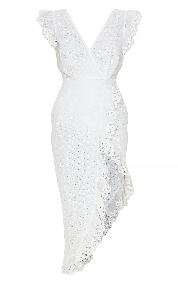 White Broderie Anglaise Tie Back Wrap Midi Dress 5