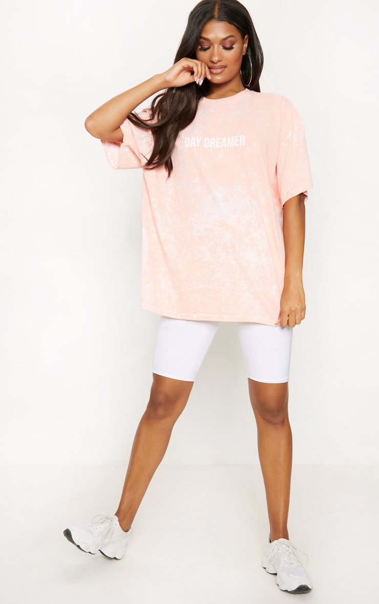 Peach Acid Wash Day Dreamer Slogan T Shirt 1