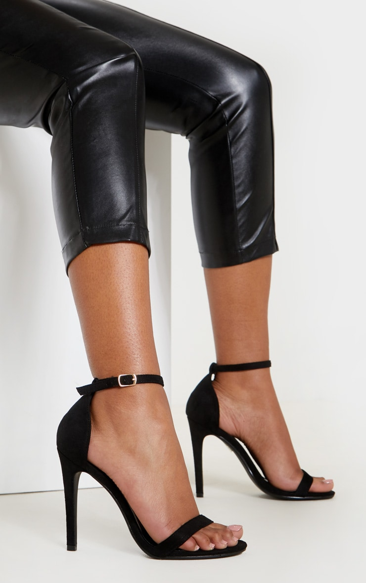 Clover Black Strap Heeled Sandals 1