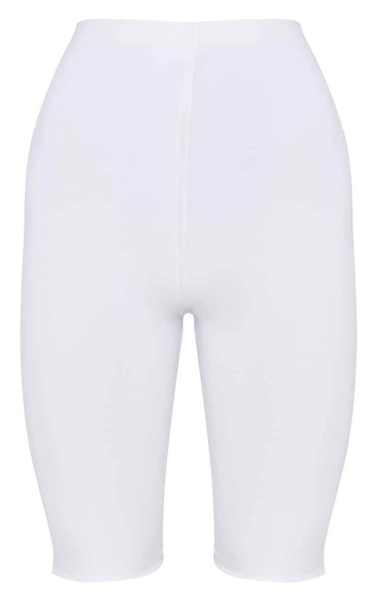 White Slinky Longline Cycle Short  3