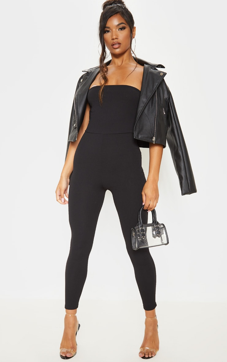 Black Bandeau Slim Leg Jumpsuit 1