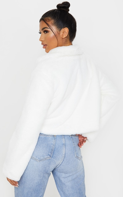 Cream Faux Fur Cropped Pocket Jacket