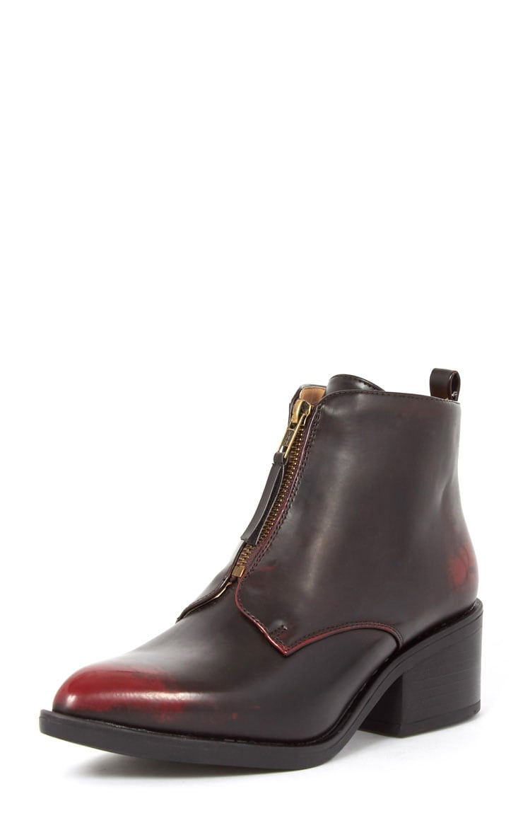 Rika Oxblood Zip Front Pointed Ankle Boot  4