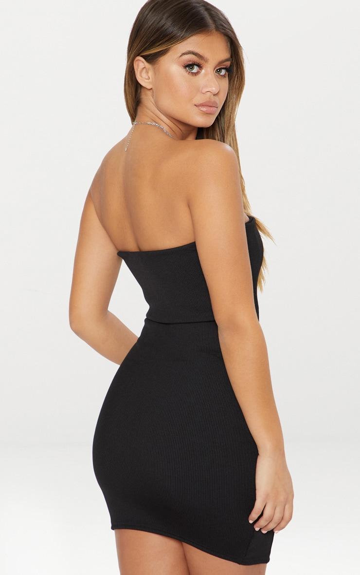 Black Second Skin Ribbed Panelled V Bar Bandeau Bodycon Dress 2
