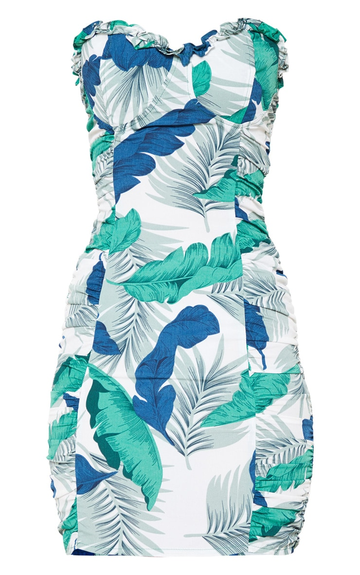 Blue Tropical Print Ruched Bodycon Dress 3