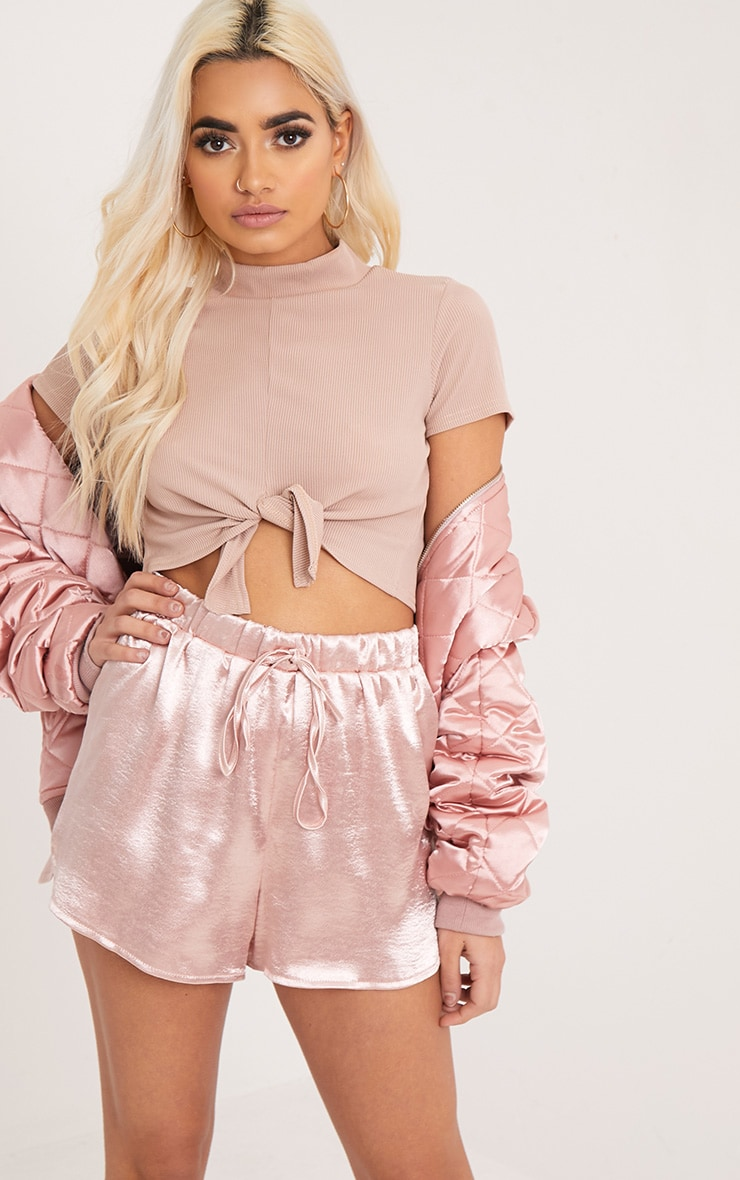 Maycie Stone Knot Front Crop T Shirt 1