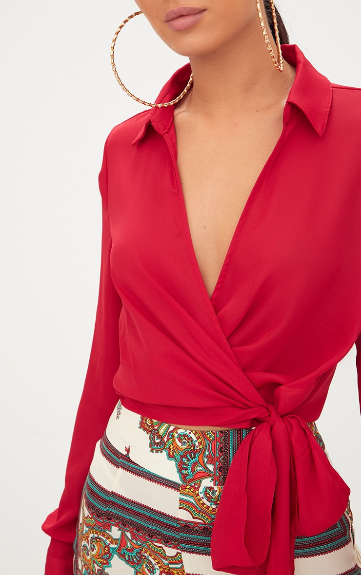 Red Wrap Front Tie Side Blouse 5