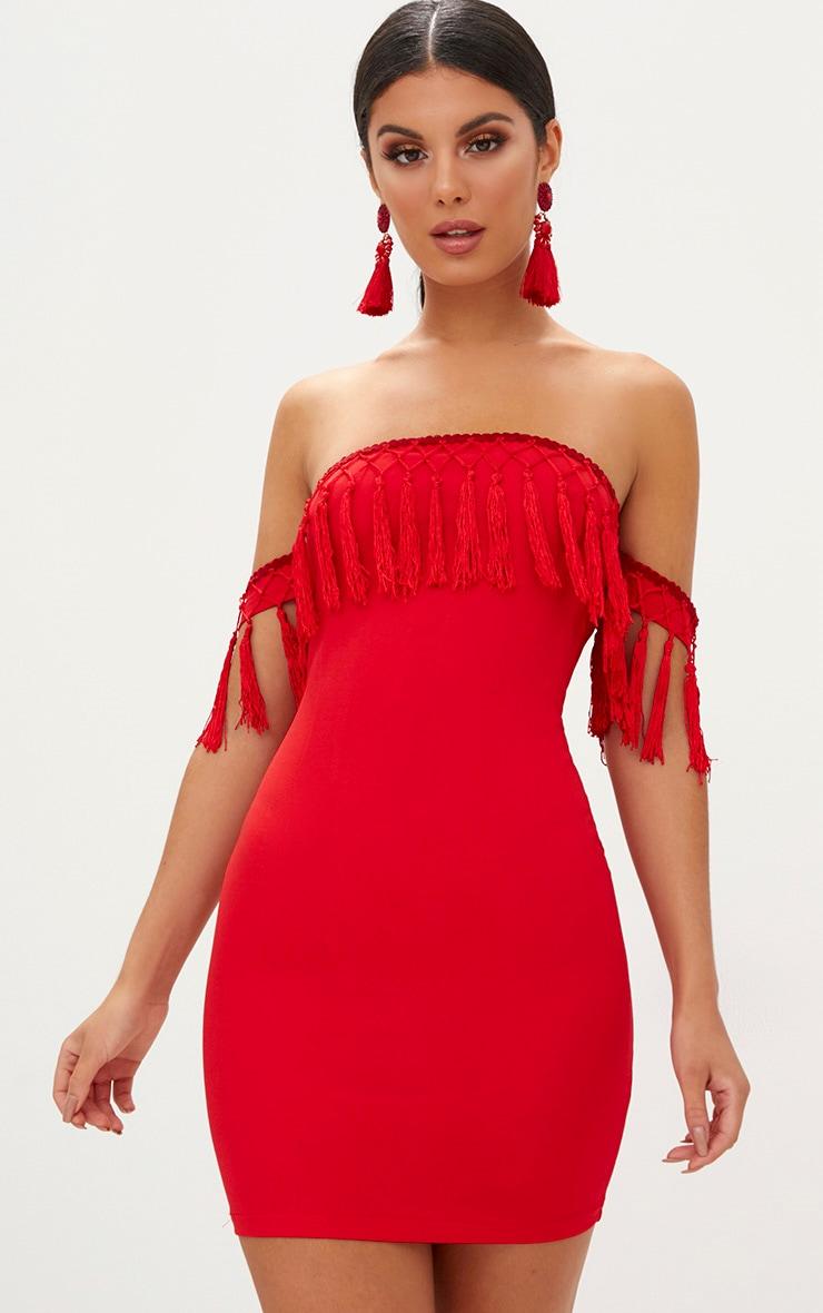 Red Bardot Arm CuffTassel Detail Bodycon Dress 1