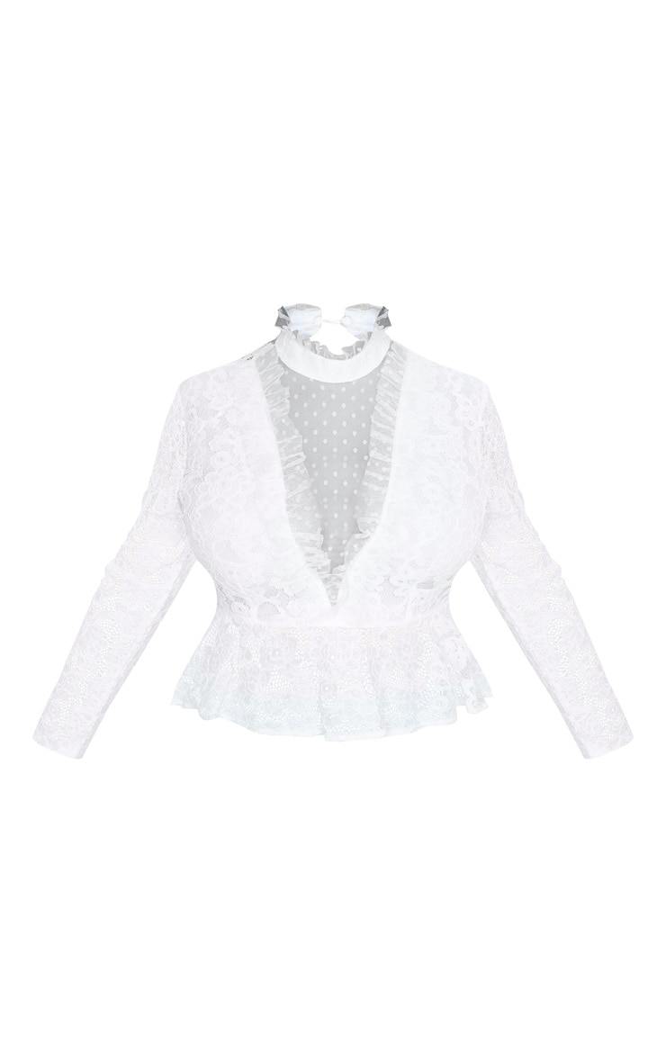 Plus White Laced High Neck Blouse 3