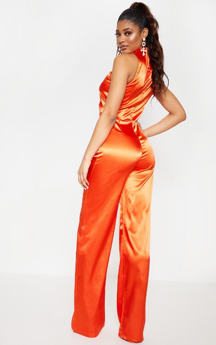 Tall Orange Satin High Neck Jumpsuit 2