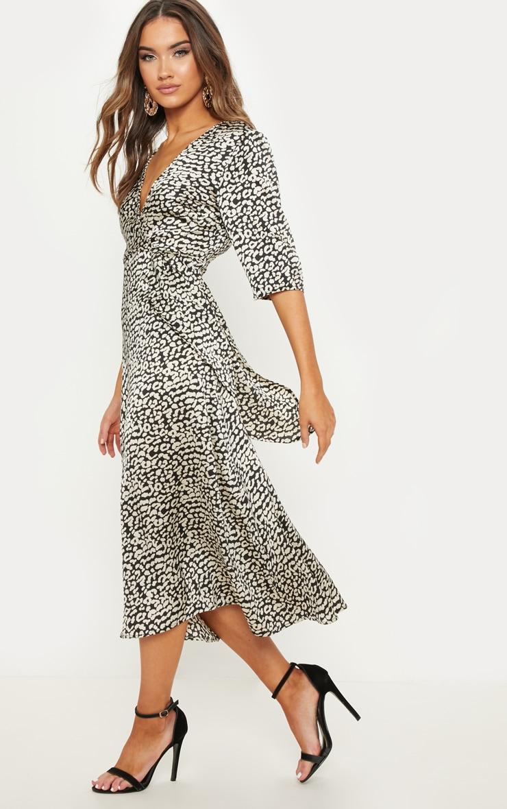 Monochrome Leopard Print Satin Drape Detail Skater Midi Dress  4