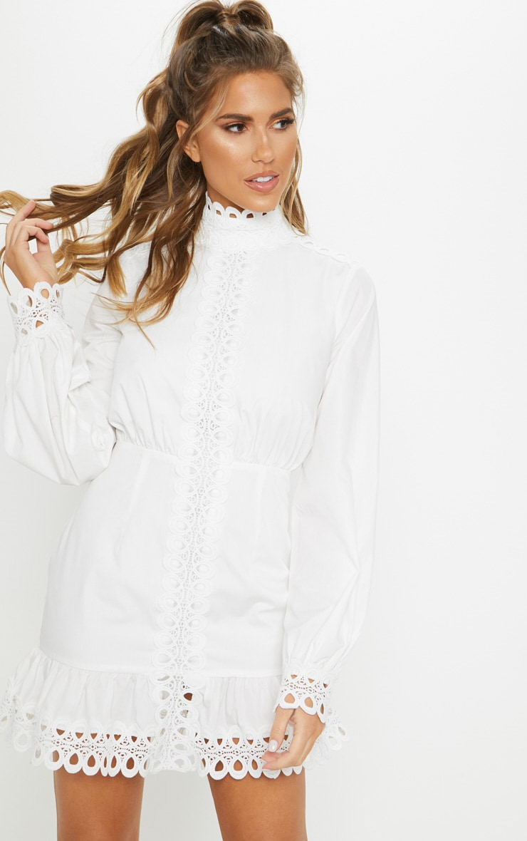 White Trim Detail High Neck Balloon Sleeve Shift Dress 1