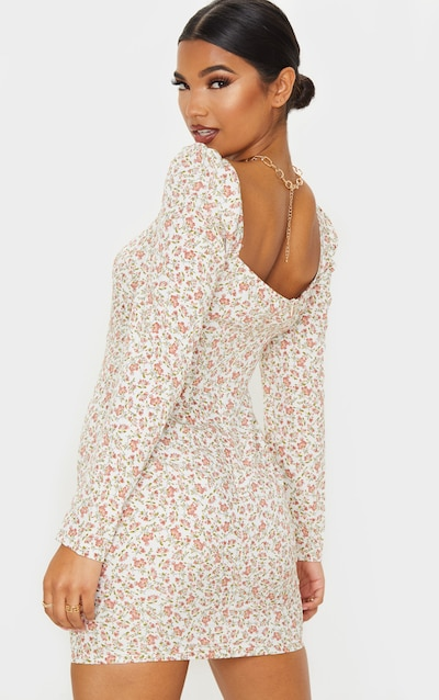 Cream Floral Square Neck Shift Dress