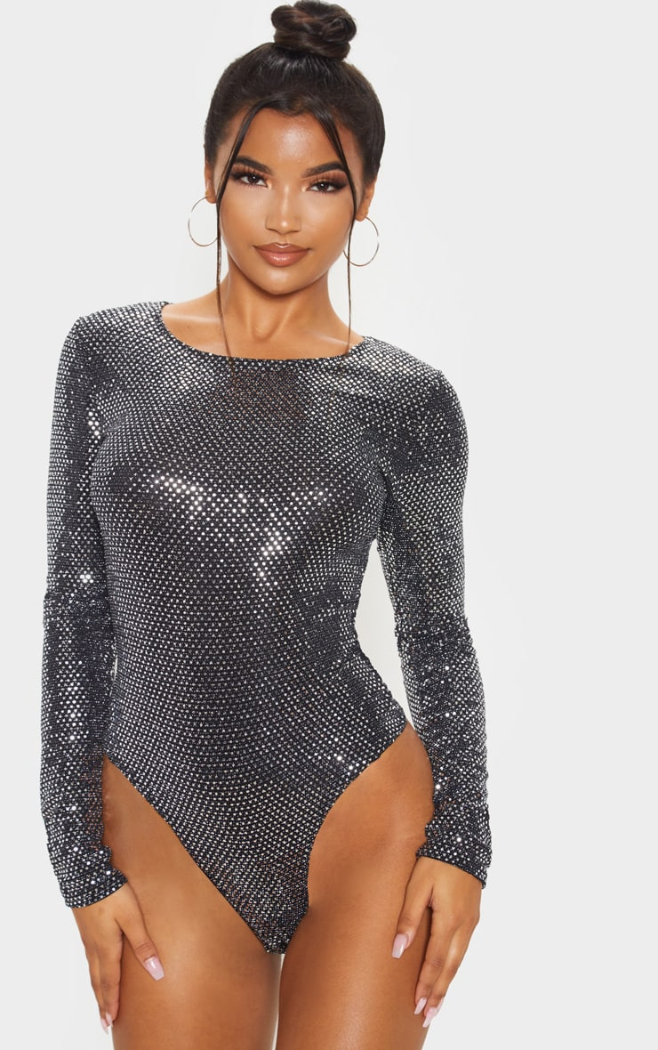Silver Sequin Long Sleeve Bodysuit 2
