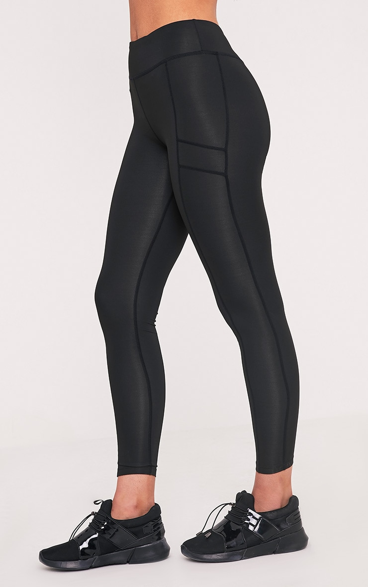 Alexis Black Panelled Gym Leggings 4
