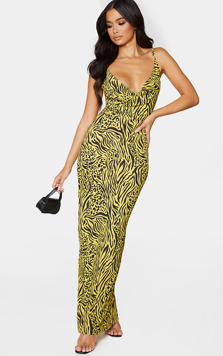 Yellow Mixed Animal Print Strappy Cowl Neck Maxi Dress 3