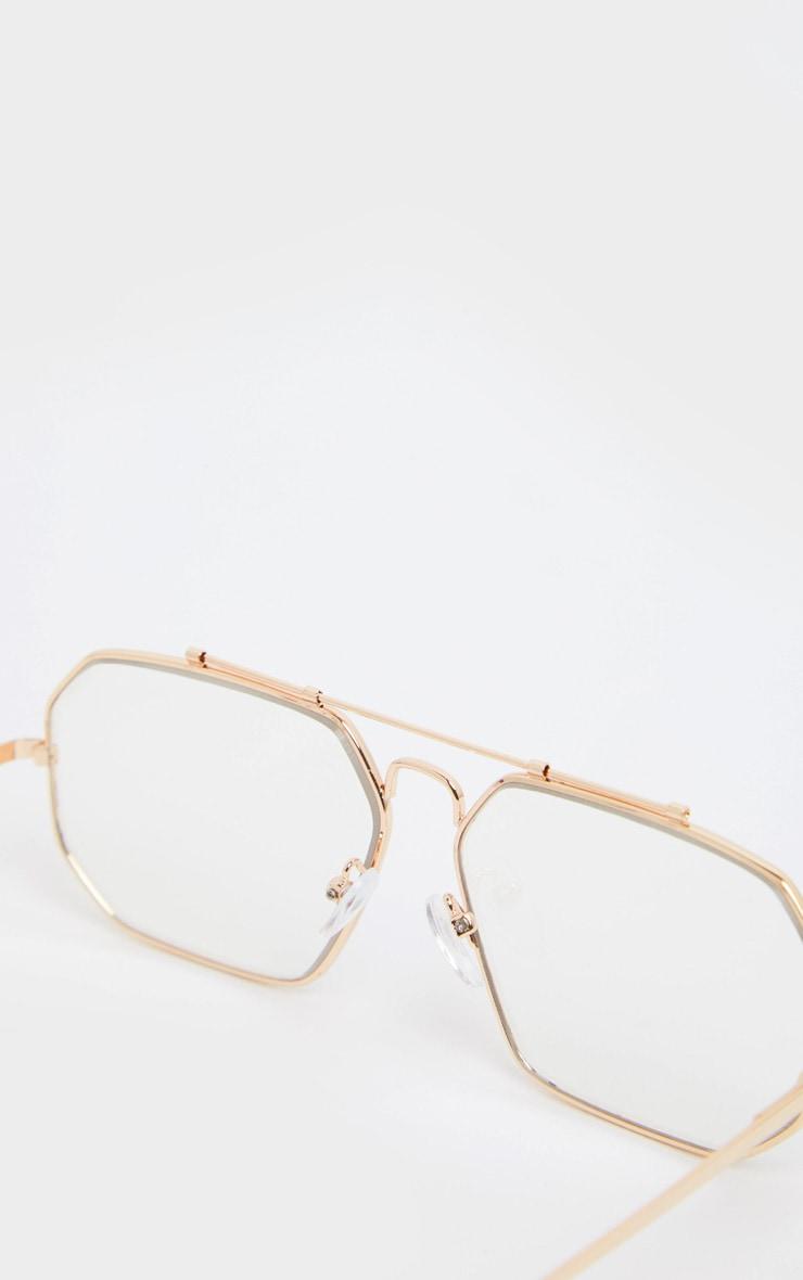 Gold Angled Oversized Aviator Reader Glasses 3