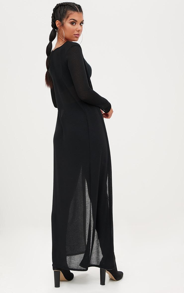 Black Lightweight Knit Longline Cardigan 2