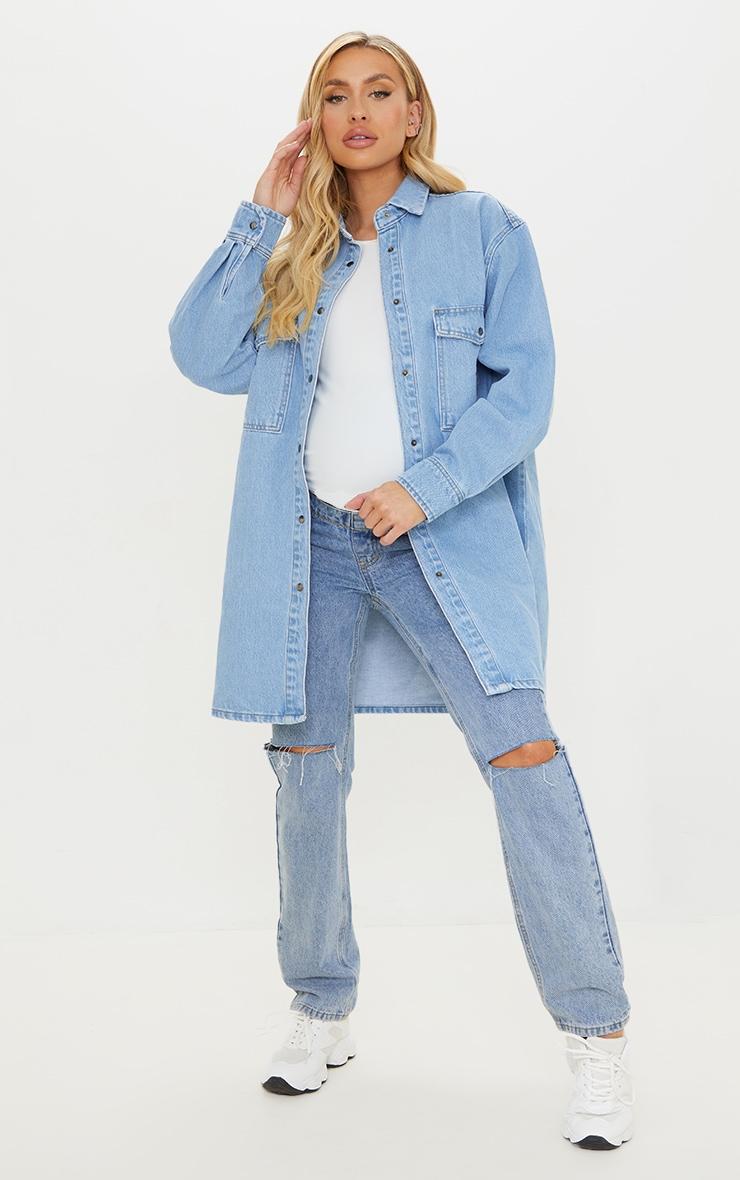 Maternity Blue Oversized Denim Shirt 1
