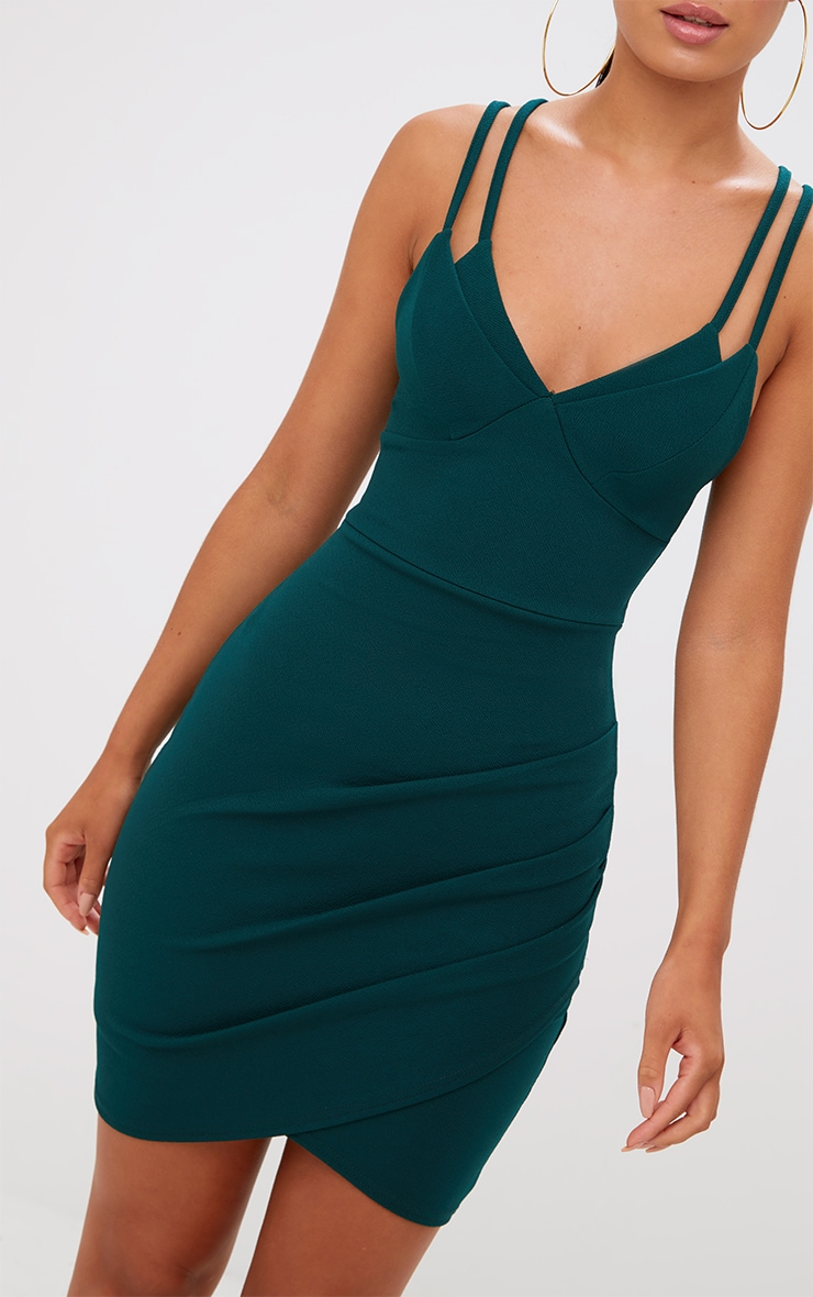 Emerald Green Double Strap Wrap Skirt Bodycon Dress 5