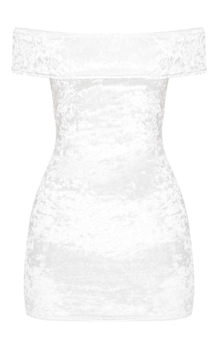 White Crushed Velvet Bardot Bodycon Dress 3