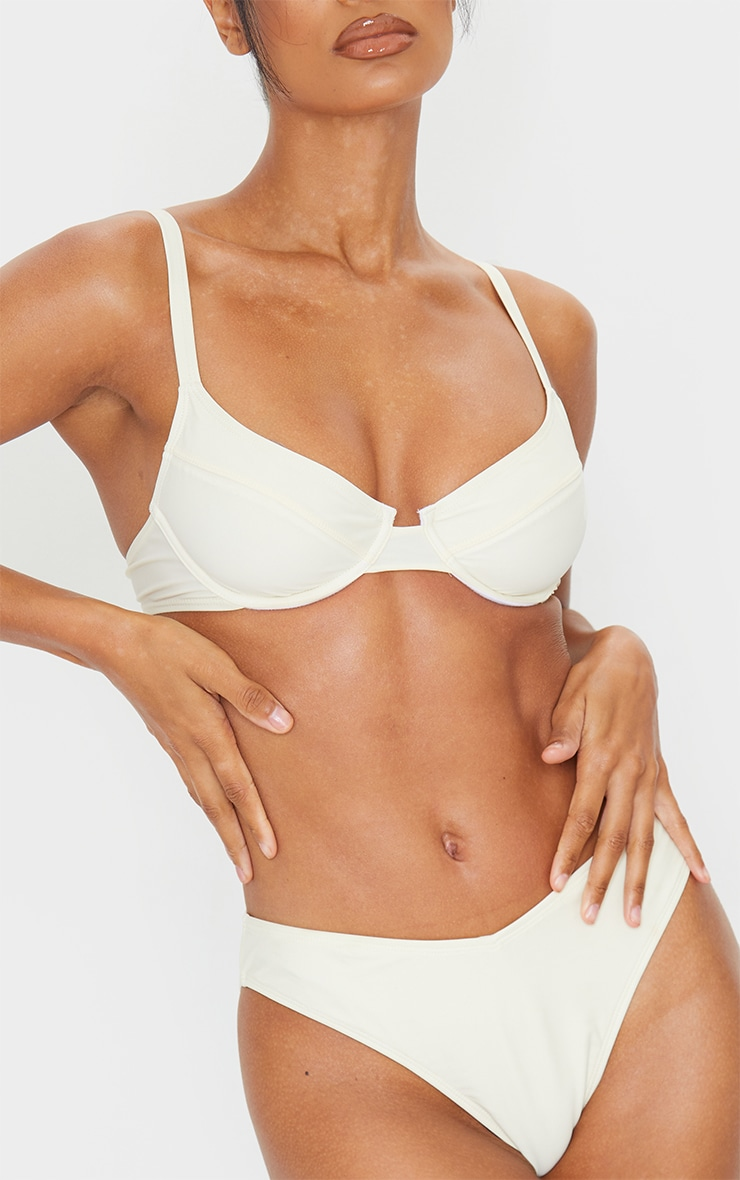 Cream Bow Back Underwired Bikini Top 6