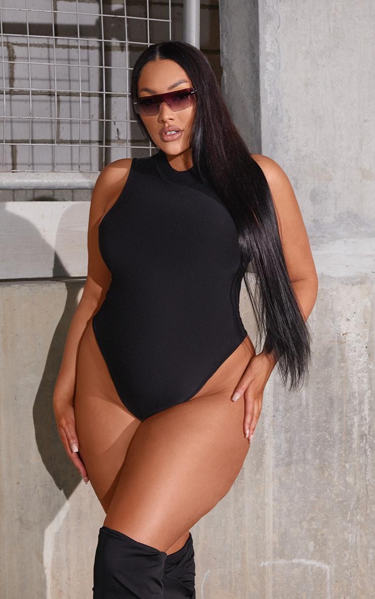 Plus Black Slinky High Neck Sleeveless Bodysuit 1