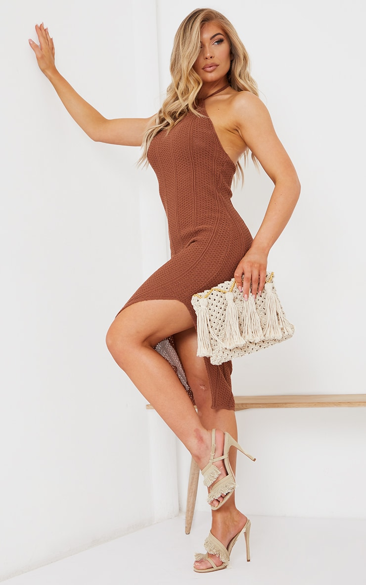 Rust Pointelle Tie Neck Midi Dress 3