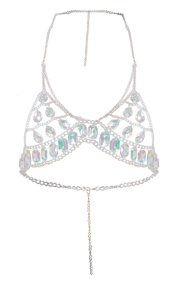 Iridescent Gemstone Silver Chain Bralet 3