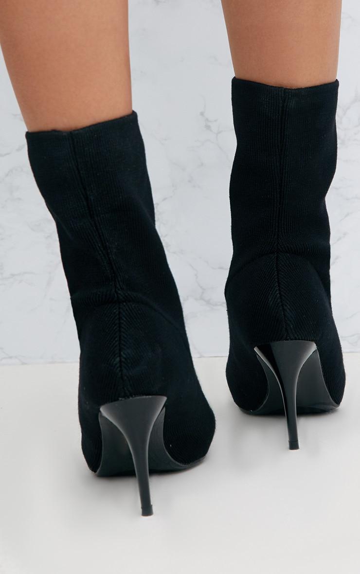Black Mid Heel Ankle Sock Boot 4