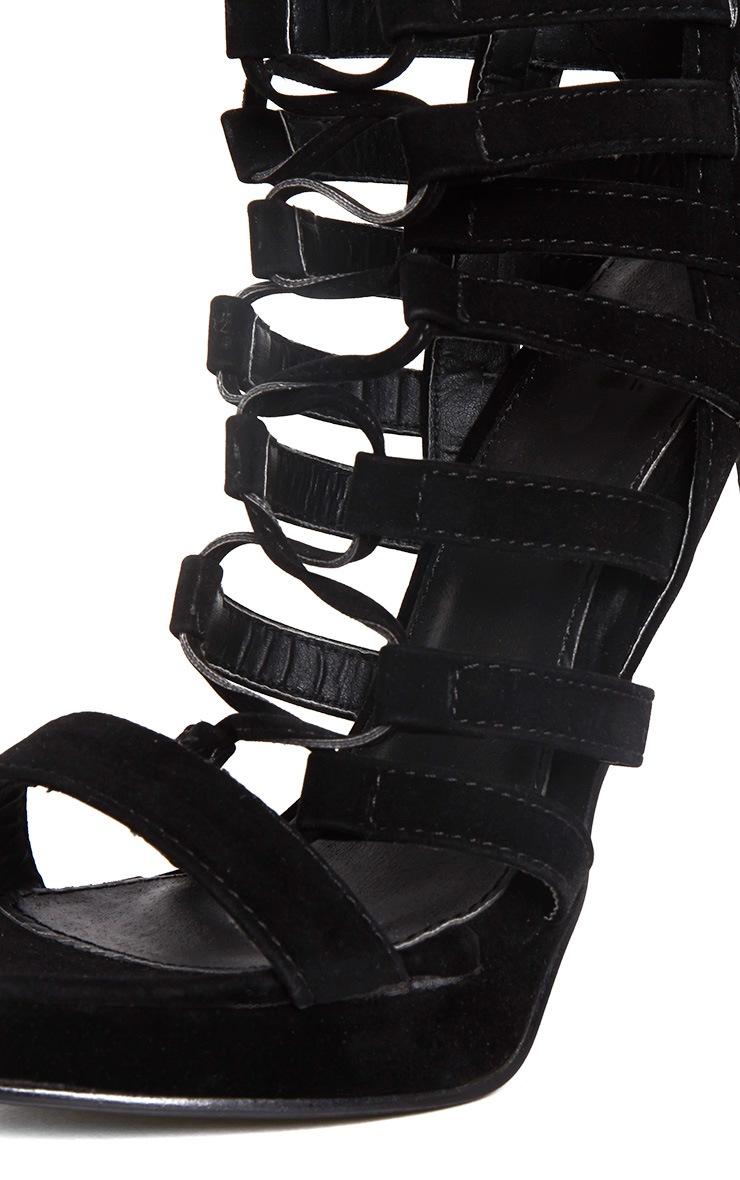 Adria Black Suede Strappy Platform Heels 5